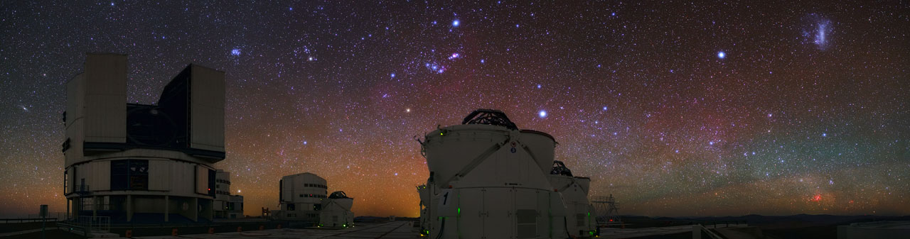 a very colourful night sky over Cerro Paranal
