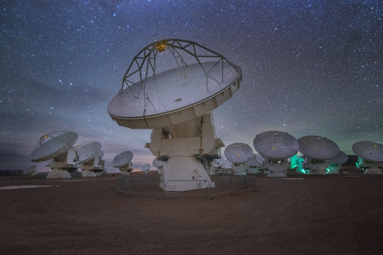 ALMA at night.  Credit:  ESO/Y. Beletsky.