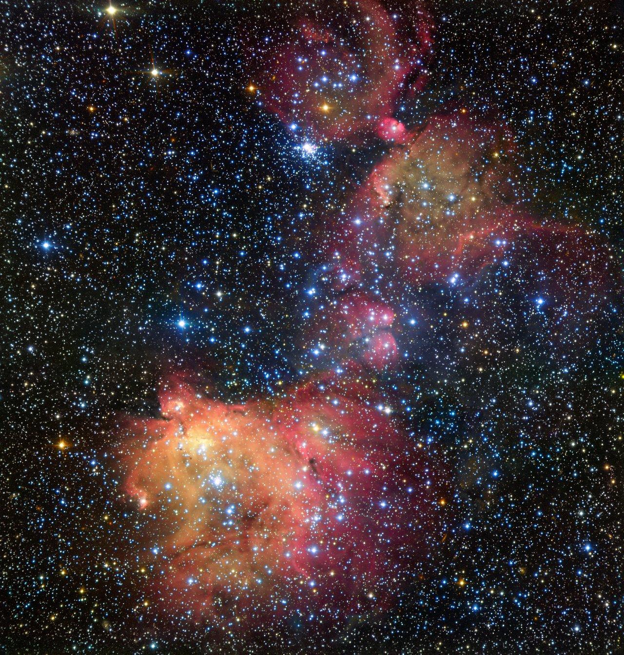 En esta imagen del VLT (Very Large Telescope) de ESO, la luz que emanan los ardientes astros azules excita el gas sobrante tras el nacimiento de las propias estrellas. El resultado es una nebulosa de emisión sorprendentemente colorida, llamada LHA 120-N55, en la que las estrellas están adornadas con un manto de gas incandescente. Los astrónomos estudian estos hermosos alardes de belleza para conocer las condiciones que se dan en los lugares donde se desarrollan nuevas estrellas.