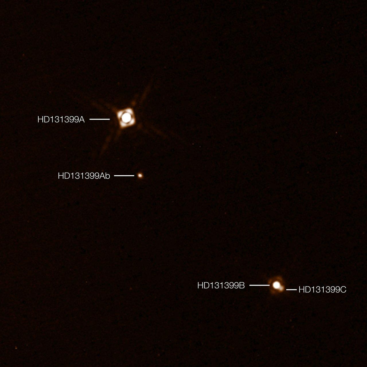 Esta composición con anotaciones muestra el exoplaneta HD 131399Ab, recientemente descubierto en el sistema triple de estrellas HD 131399. Las imágenes del planeta fueron obtenidas con el instrumento SPHERE, instalado en el VLT (Very Large Telescope) de ESO, en Chile. Este es el primer exoplaneta descubierto por SPHERE y uno de los pocos planetas de los que se ha obtenido una imagen directa. Con una temperatura de alrededor de 580 grados centígrados y una masa estimada de cuatro masas de Júpiter, es también uno de los exoplanetas más fríos y menos masivos captados con imagen directa.
