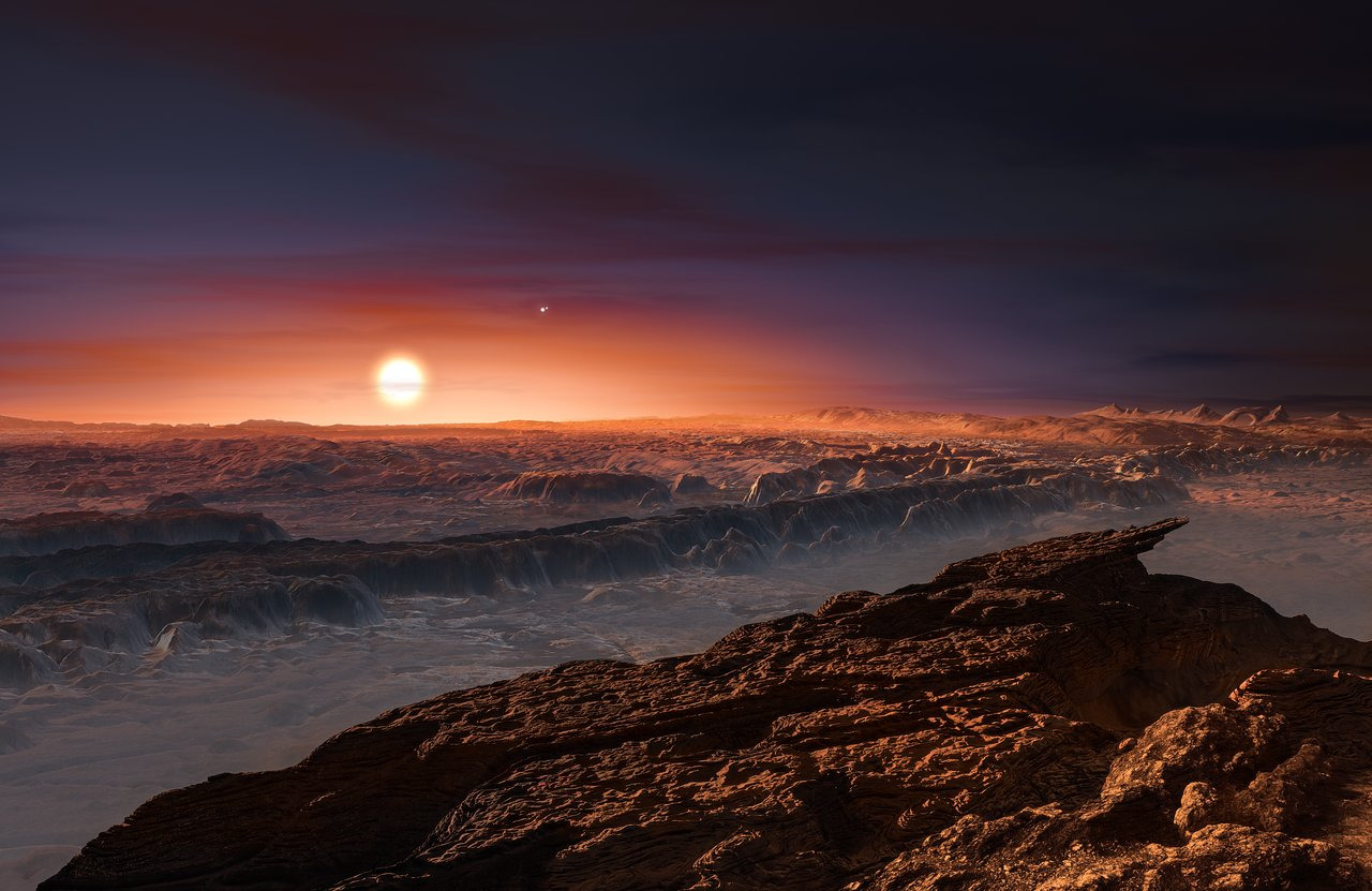 Artist's impression of the planet Proxima b orbiting the red dwarf star Proxima Centauri, the closest star to the Solar System
