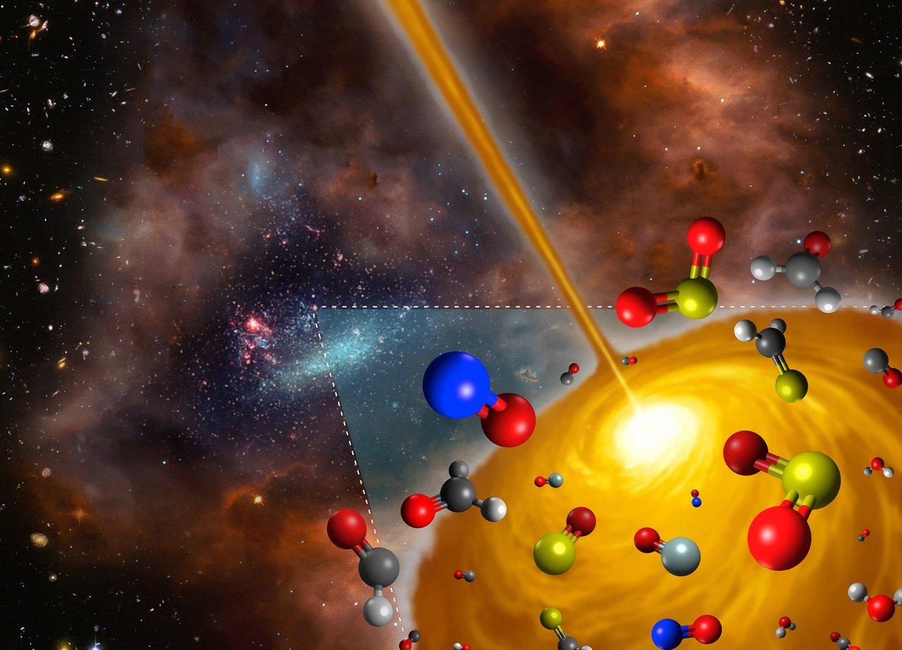 Ilustración del núcleo molecular caliente descubierto en la Gran Nube de Magallanes 1 of 2
