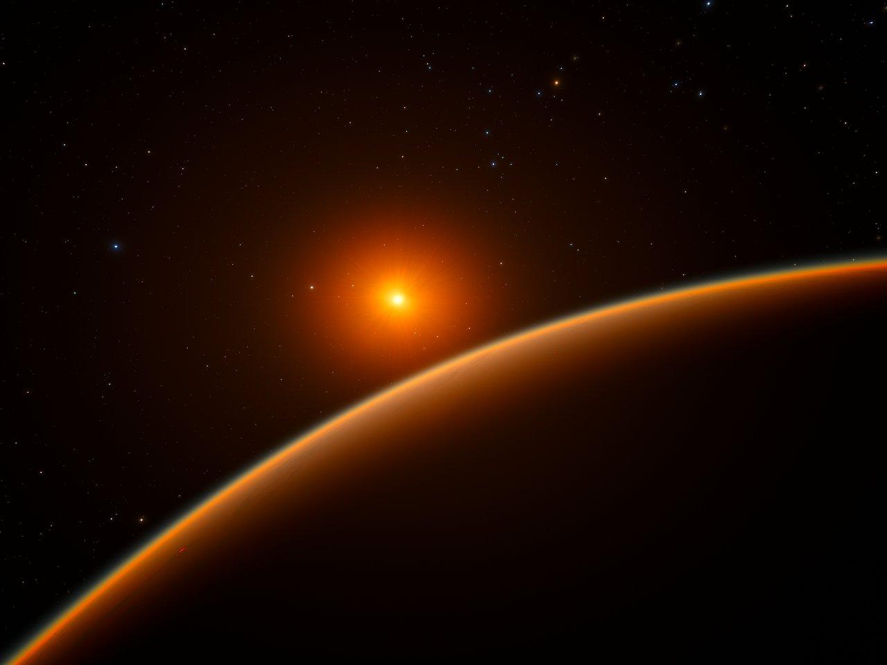 Concepção artística do exoplaneta do tipo super-Terra LHS 1140b