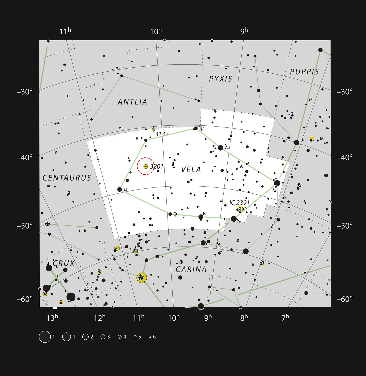 NGC 3201 en la constelación Vela