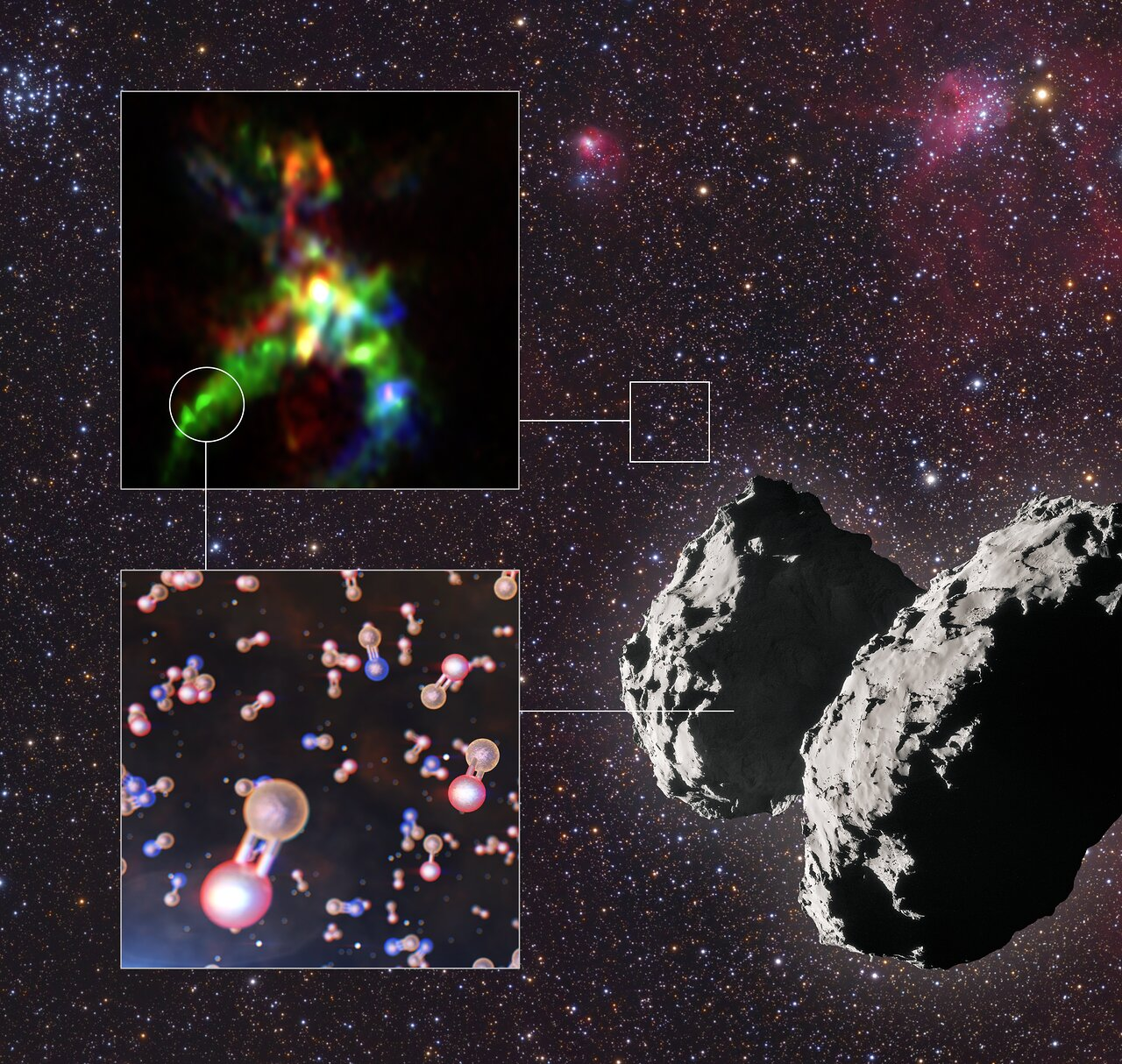 Phosphorus-bearing molecules found in a star-forming region and comet 67P