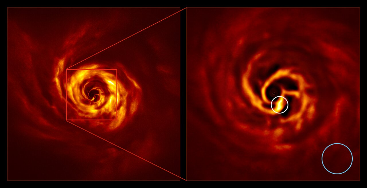 SPHERE images of the AB Aurigae system (side by side, annotated)