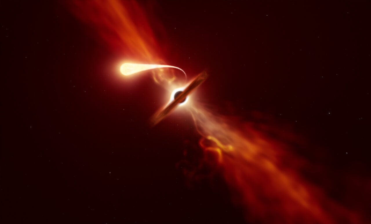 Death by Spaghettification: ESO Telescopes Record Last Moments of Star Devoured by a Black Hole