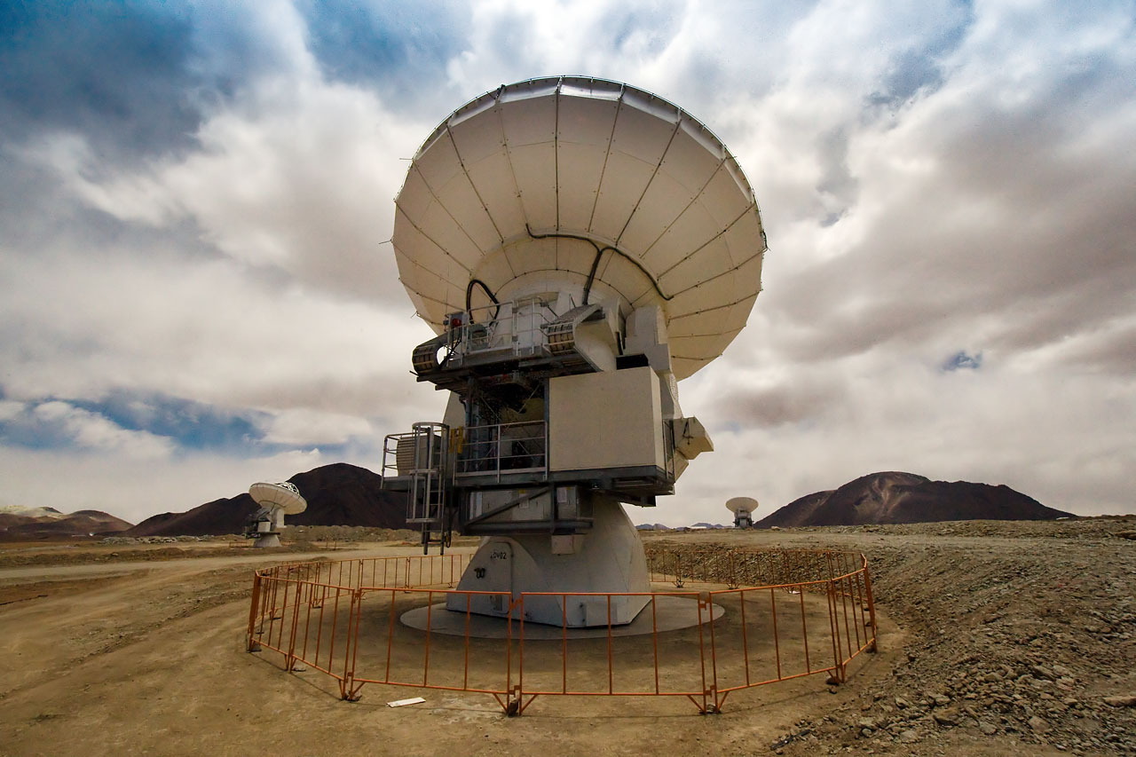 Mounted image 101: The first three ALMA antennas at the Array Operations Site (AOS) on Chajnantor