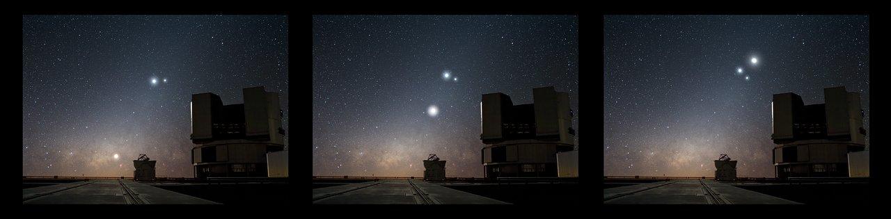 La Luna en conjunción con Venus y Júpiter