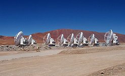 Eight ALMA antennas on Chajnantor