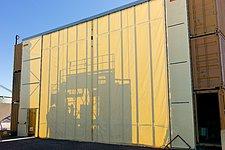 Temporary shelter for assembling an ALMA antenna