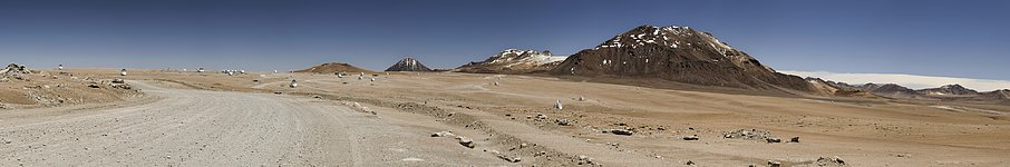 ALMA's antennas spread across the Chajnantor Plateu