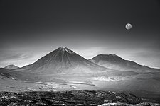 A desert in black and white