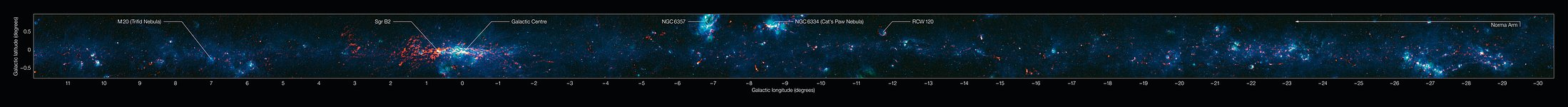 View of the Galactic Plane from the ATLASGAL survey (annotated)