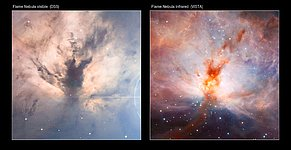 Visible/infrared comparison of the VISTA Flame Nebula image
