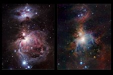Infrared/visible comparison of the full VISTA Orion Nebula image