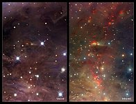 Infrared/visible comparison of an extract from the VISTA Orion Nebula image