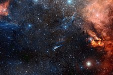 Wide-field view of the sky around the Pencil Nebula