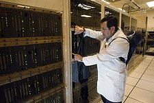Checking electronics on the ALMA correlator at 5000 metres elevation
