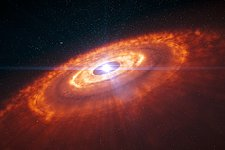 Artist's impression of a young star surrounded by a protoplanetary disc