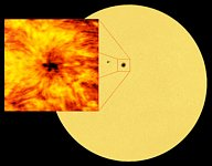 Image of the solar surface alongside a close-up view of a sunspot from ALMA