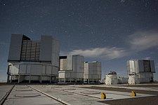 VLT Unit Telescopes Under a Starry Sky