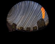 Star trails at Paranal with laser