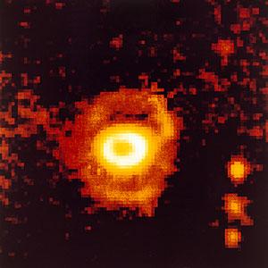 Ring-shaped nebula around SN 1987A