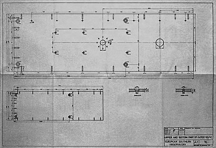Construction drawings of the ESO 1-metre telescope.