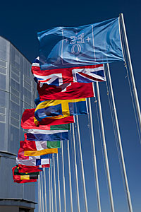 Flags in front of Unit Telescope 1
