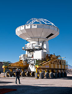 The ALMA transporter carrying an antenna at the OSF