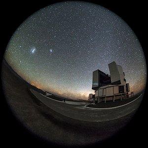 Magellanic Clouds over Yepun