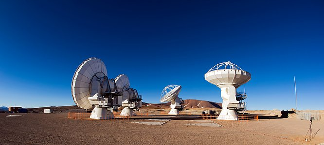 Four ALMA antennas on the Chajnantor plain