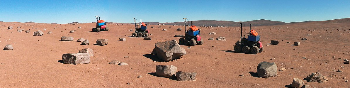 Time-lapse view of the ESA Seeker autonomous rover during tests at Paranal