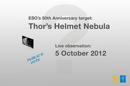 """Ganador del concurso para celebrar el aniversario de ESO """"Elige qué observará el VLT""""- La nebulosa del Casco de Thor"""