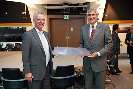 Chilean ambassador to Germany, Mr. Jorge O'Ryan Schütz, during his visit to ESO Garching