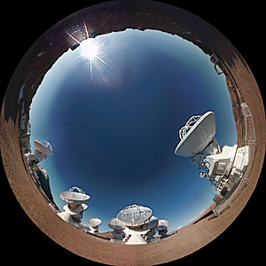 "Screenshot from the planetarium show ""Le Navigateur du Ciel"" showing ALMA"