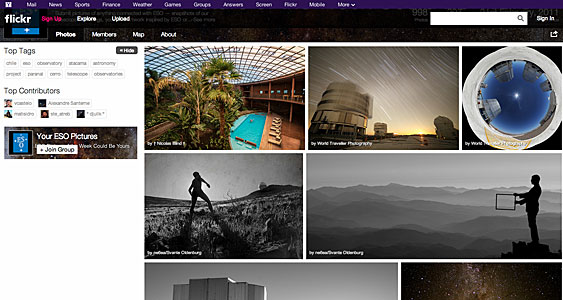 "Screenshot of the ""Your ESO Pictures"" Flickr Group"