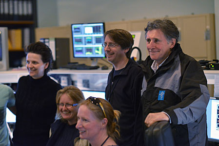 French actress Juliette Binoche and Irish actor Gabriel Byrne in the VLT control room