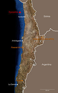 The location of the epicentre of the 1 April 2014 Chilean earthquake