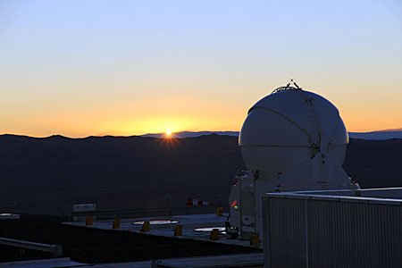 Auxiliary Telescope against a Setting Sun