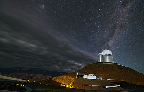 Clouds fly by the ESO 3.6-metre telescope