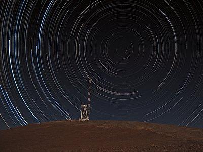 Star trails over Cerro Armazones summit