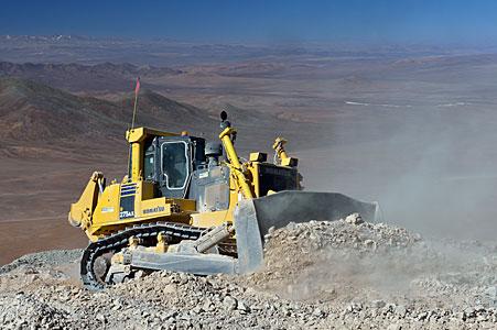 A bulldozer in the desert