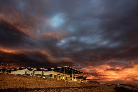 Sunset over the OSF at ALMA
