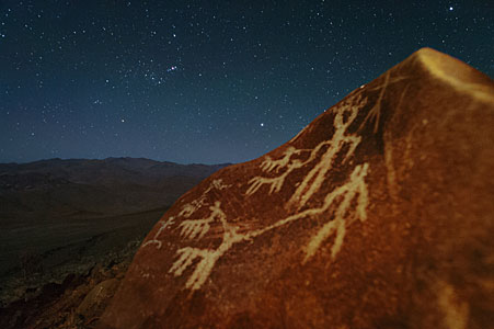 Orion raising over petroglyphs