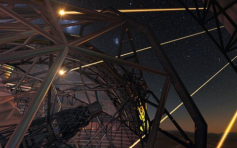 Artist's impression of the European Extremely Large Telescope deploying lasers for adaptive optics