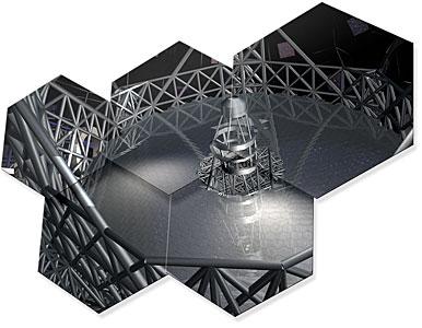 Artwork showing some hexagonal mirror pieces of E-ELT