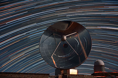 Star trails reflected in SEST