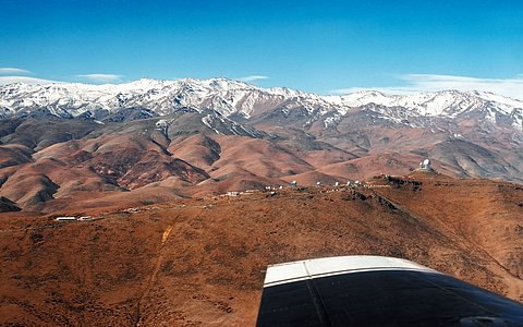 La Silla Observatory view from an airplane